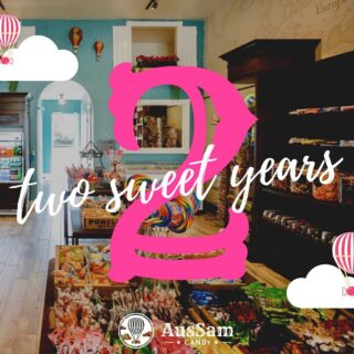 It's Been Two Sweet Years🍭☁️  Today marks the 2nd anniversary of our grand opening!🎉 We are so thankful to be serving the same community we live in, & wouldn't be here without you all🍬 Thank you SO much to our AusSam customers for supporting us since the beginning💗 We hope we are fulfilling our mission, and on every visit you feel like a kid in a candy store🥰  To celebrate, you will receive one free mini bulk bag of candy with any purchase today🍭  While supplies last. See you soon!