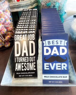 Show #Dad some love with our sweet Father's Day treats🍫💙  We also have some great gifts for the graduates in your life! Can't wait to see you this week🥰